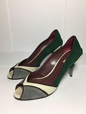 =QUIRKY= MIU MIU Green Grey Retro Style Block Colour 3D Flower Suede Heels EU38