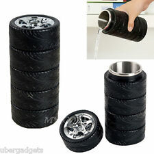 Car Wheel Tire Cup Travel Mug Stainless Steel Thermos Flask Coffee Water Bottle
