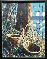 Original Modernist Landscape Painting Still Life Native American Baskets Signed