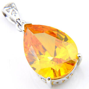 Square Cut Shiny Natural Golden Citrine Gems Solid Silver Necklace Pendants