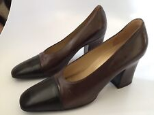 Vintage BALLY Size Leather High Block Heels Pumps Size 9 N TANGY Switzerland