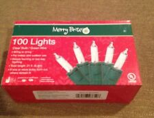 Merry Brite 100 Lights Clear Bulb Green Wire 21ft Indoor/outdoor New