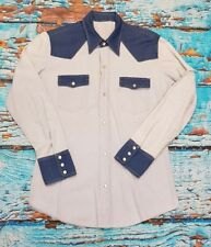 Levi's Vintage Clothing LVC 1950s Blue Two Tone Western Shirt SM TO MED 42""