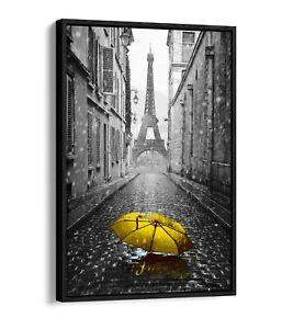 PARIS UMBRELLA YELLOW FLOAT EFFECT CANVAS WALL ART PICTURE PAPER PRINT-