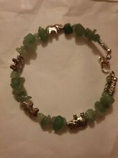 Ladies tibet silver elephant bracelet bangle with green jade chips
