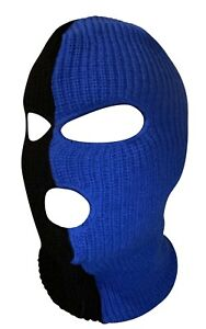 Ski Mask 3 hole Half Blue half Black