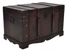 Antique Large Wooden Treasure Storage Trunk Blanket Treasure Chest Vintage Style