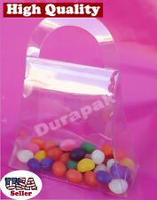 "50Pc 5-3/4x2-1/4x5-1/2"" Clear Plastic Apet Food Safe Handbag Shaped Favor Box L"