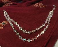 """Vintage Graduated Faceted Swarovski Crystal Glass Bead Choker Necklace 14"""""""