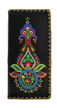 LAVISHY INDIAN PAISLEY EMBROIDER LARGE WALLET VEGAN FAUX LEATHER NEW 97-187 BLK