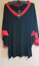 MADDIE+ TOP BLACK WITH RED ACCENTS SIZE M Dolman Sleeves BNWT