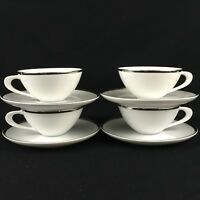 Set of 4 VTG Cups and Saucers by Sango Fine China Pallas Platinum Trim Japan MCM