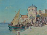 Beau TABLEAU ANCIEN éc. provençale 19e Marine vue de port animée st. Malfroy 19e