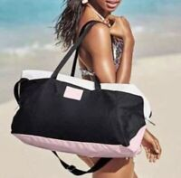 New Victorias secret Black Pink White Over Night Bag Gym