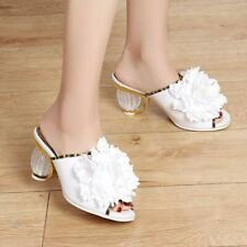Flower sandals slippers womens summer peep toe shoes pumps block heels party