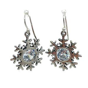 Silpada Retired .925 Silver Cubic Zirconia Snowflake Drop Dangle Earrings W1459