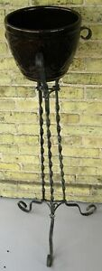 "ANTIQUE TWISTED WROUGHT IRON PLANT STAND 42""H w/UNMARKED WELLER JARDINIERE"