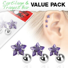 3 Pc Purple Star CZ Ear Cartilage Daith Tragus Helix Earrings Barbell Studs