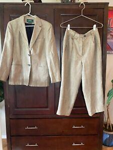 Lauren Ralph Lauren  Women Jacket Pants Suit tan/black houndstooth -professional