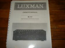 Luxman R-117 Owner's Manual  Coil Bound w/ Protective Cover !!