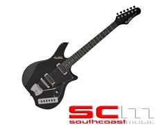 Hagstrom IMPBLK Impala Gloss Black Finish Solid Tremolo Electric Guitar