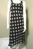 DANA KAY Women's Black & Grey Polka Dot Sheath Dress~Size 10