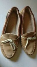 Hush Puppies Women Suede Brown Indoor Out Slipper Flat Shearling Casual Shoe 6M