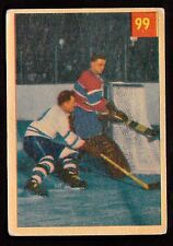 1954-55 PARKHURST #99 PLACED PLANTE FOILS TIRELESS TEEDER - CANADIENS VS LEAFS