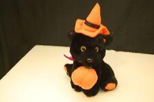 "Black Halloween Pumpkin Cat Orange Witch Hat 9"" Plush Stuffed Lovey Toy"