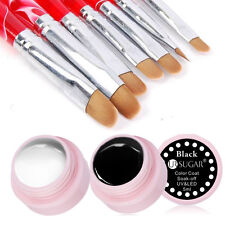 9pcs/set UV Gel Nail Art Brush Polish Painting Pen Kit Black White UV Gel Set