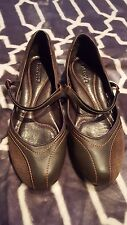 Lacoste Glory Mix Brown Leather Ballet /Mary Jane Flats Size 8