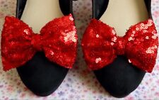 """NEW PAIR RUBY RED SEQUIN FABRIC SPARKLE SHOE BOWS 3"""" BOW CLIPS RETRO STYLE PARTY"""