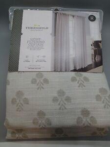 "Threshold Light Filtering Curtain Panel 54"" x 84""  Gray Suzani Stamp Rod Pocket"