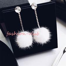 New Women White Fluffy Plush Faux Mink Fur Ball Dangle Earring Crystal Ear Stud