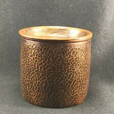 JB41   Japanese Tin Copper  Hammer Finish Waste Water Receptacle Pot  Signed