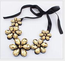 Women Flower Rhinestone Ribbon Bib Collar Statement Pendant Necklace Fashion White