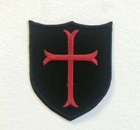 Knights Templar Cross Shield Badge Iron on Sew on Embroidered Patch
