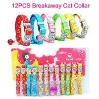 12PCS Safety Breakaway Cat Collar Reflective Bulk Small Pet Kitten Collars Bell