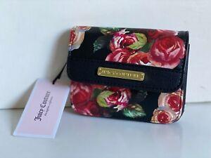 NEW! JUICY COUTURE ROSIE BLACK ROSE FLORAL PRINTED CLUTCH WALLET $58 SALE