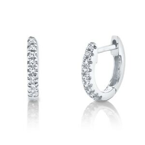 14K White Gold Diamond Huggie Earring Hoop Round Cut Tiny Natural Children Adult
