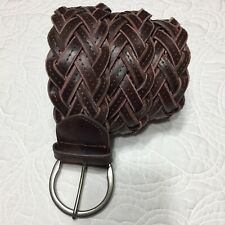 Ladies Dress Wide Macrame Braided Brown Leather Belt - Size Small - #1699