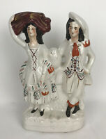 Antique 19th c. Staffordshire Pottery Wedding Couple Mantle Figurine Flat Back