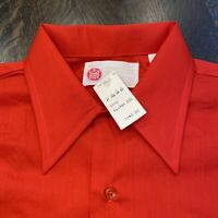 NOS Vtg 60s SEARS Dress Shirt Permanent Press Red Disco MENS LARGE Big Collar