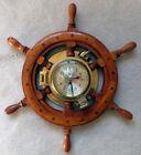 "18"" Nautical Solid Brass & Wood Captain's Wheel Telegraph ""Ship's Clock"""