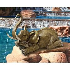 African Wildlife Piped Elephant Statue Water Feature Garden Pool Sculpture