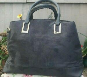 Women grey Handbag carry 3 sections Lightweight & roomy ochre lining daily bag