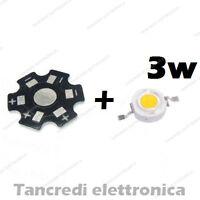 Chip led 3W bianco caldo 600mA 3V 3.6V con dissipatore alluminio lampadina bulb