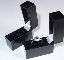8 black leatherette slim-line ring boxes/cases for posting (large letter)