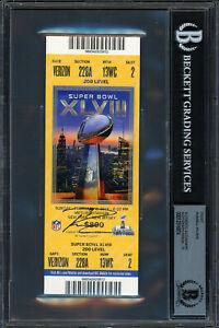 Russell Wilson Autographed Signed Super Bowl Ticket Gem 10 Auto Beckett 12516874