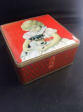 VINTAGE & R Jacob Jacobs Biscuit Tin Girl with Pet Dog Terrier on lap Hinged Lid